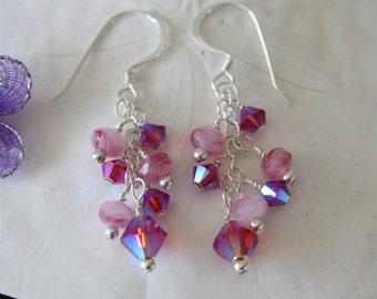 Earrings Purple & Pink Crystal Sterling Silver, Dangle Earrings