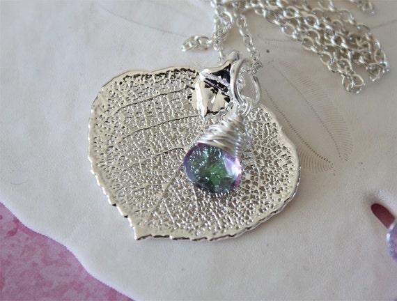 Real Aspen Leaf Sterling Silver n Gemstone Necklace