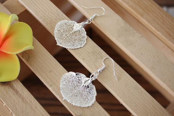 Real Leaf Earrings, Aspen Leaf, Sterling Silver Earrings 5