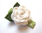 Felt Flower Hair Clip - Rose Collection Snow White Wool Blend Felt Hair Clips With Leaf Stitching For Girls or Women