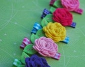 Wool Felt Flower Hair Clip Collection In Brights