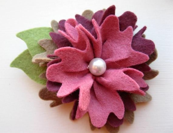 Sale Wool felt flower brooch clip or hair clip  in taupe, plum, dusty rose