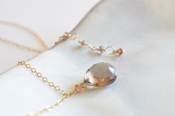 Taupe Smoky Quartz and Andalusite Gold Necklace
