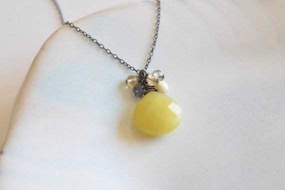 Mustard Yellow Jade Sterling Silver Necklace