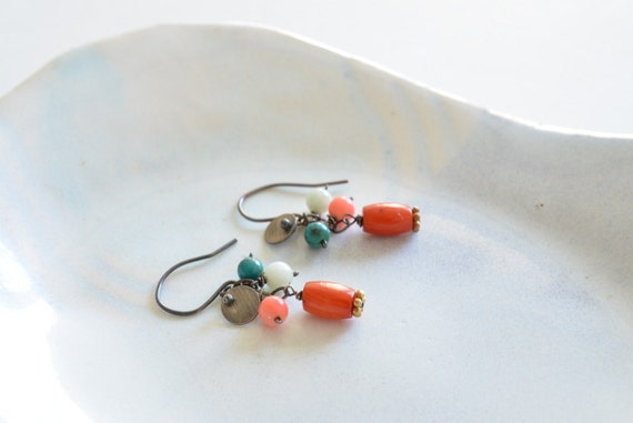 Minimalist Bohemian Red & Pink Coral Turquoise Oxidized Sterling Silver Earrings