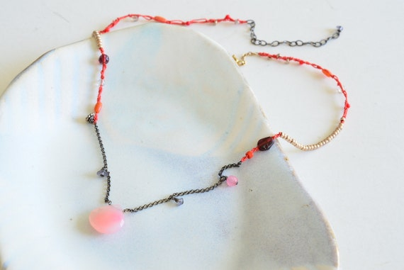 Tribal Pastel Peach Pink & Coral Red Silk Knot Sterling Silver Necklace