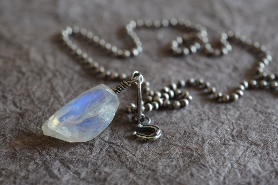 Rustic Dreamy Rainbow Moonstone & Horseshoe Pendant Ball Chain Sterling Silver Necklace