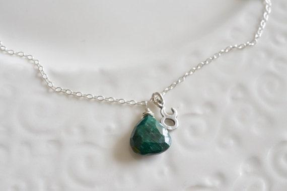 Taurus & Emerald Zodiac Charm Sterling Silver Necklace