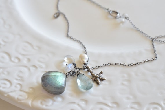 RESERVED. Beachy Labradorite Moss Aquamarine & Starfish Cluster Sterling Silver Necklace