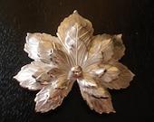 Vintage Sarah Conventry Brooch Silvery Maple Silvertone Broach