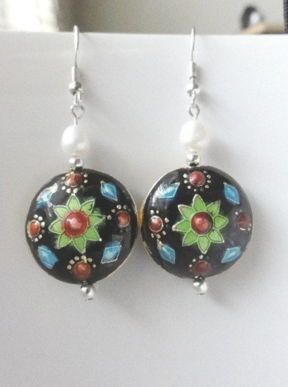 SALE - Cloisonne and Pearl Earrings