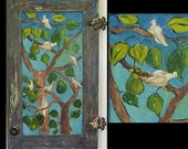 Folk Art Recycle Cupboard Door Acrylic Painting Tree Doves Pears