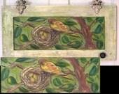 Folk Art Recycle Cupboard Door Acrylic Painting Tree of Life-Bird Eggs Nest