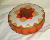 Vintage Orange Tin,Fall's Delight, 1970's