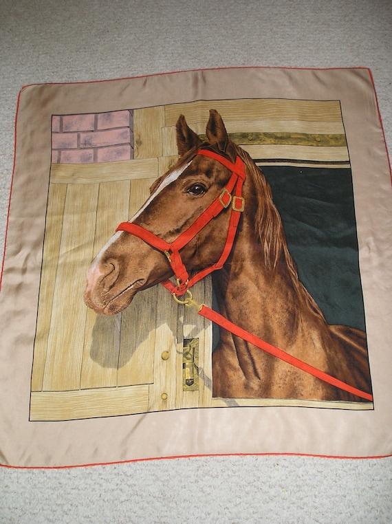 Vintage Italian Signed Silk Scarf Of Horse Beautiful by fairymuse Vintage Italian Silk Scarves