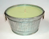 COCONUT LIME VERBENA  or PICK YOUR OWN SCENT... Highly-Scented Soy Wax Candle in Recycled Metal Wash Basket - CUSTOM