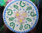 Mosaic Garden Stone Pink Flowers