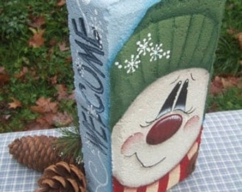 12002 Welcome Flakes Snowman Brick Pattern Oil Creek Originals