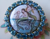 Mermaids and Rhinestones, Image Button Brooch by SSSJ on Etsy