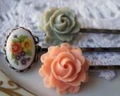 Bride Bridesmaid Bridal Antiqued Floral Bobby Pin, Hairpin Set