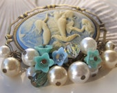 Mermaid Brooch, Handmade, Costume Jewelry pearls flowers and crystals