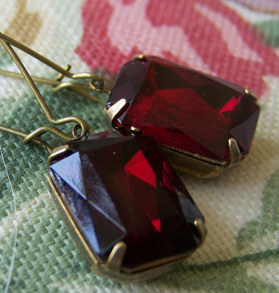 Red Wine, Foiled Chez Glass Earrings