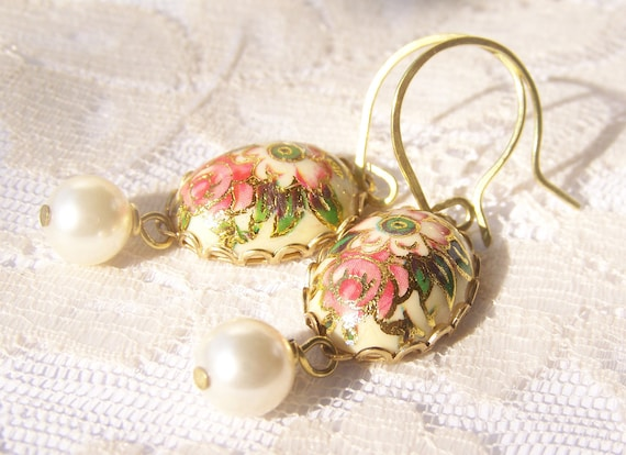 Coral Rose Earrings, romantic cabochon, coral greens and golds