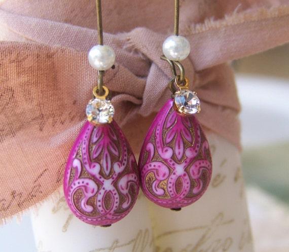 Fuschia Earrings, Antiqued patina, crystal charm