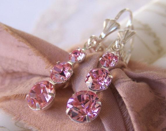 Pink Jewel Earrings, Swarovski crystal, rose rhinestones in silver plate