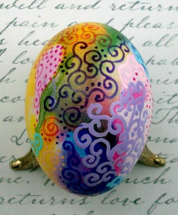 Super SALE! Hand Painted Egg Ornament Spring Splash Chicken Egg