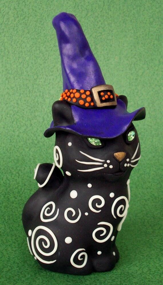 Halloween Black Cat  Figurine with Crystal Eyes