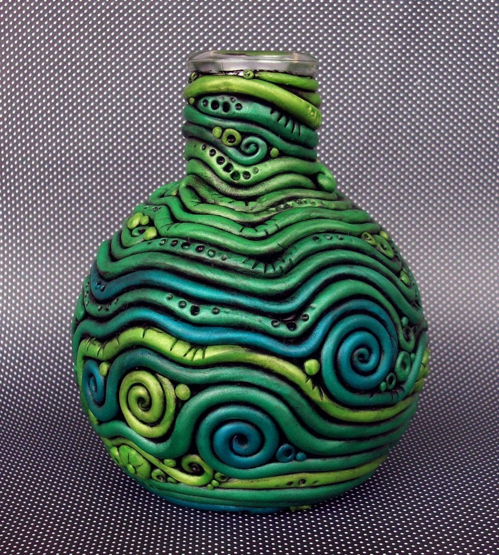 Polymer Clay Bottle Vase Crazy Coils