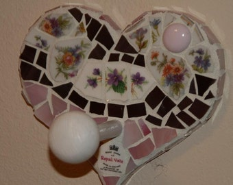 Purple and Pink  Mosaic Shabby Chic Heart Wall Hanger