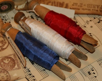 Seam Binding  Ribbon 15 Yards - Patriotic Colors - Red, White and Blue - Vintage Clothespins Wrapped