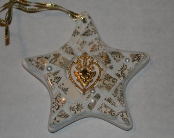 Gold and White Mosaic Ornament