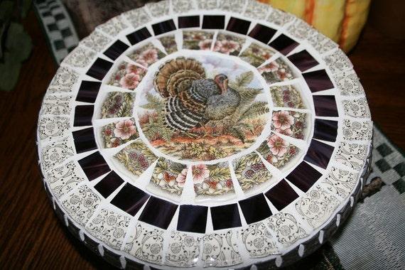 Holiday Turkey Crystal Mosaic Cake Plate