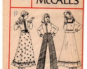 "1970s Boho Country Girls' Blouse & Ruffled Skirt ""Carefree Pattern"", Girl's Size 10 - McCall's 4301"