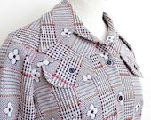 Plaid Power Houndstooth & Flower Shirt Jacket, 1970s