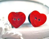 """Red Button heart plugs for gauged ears 11mm 7/16"""" stretched ears"""