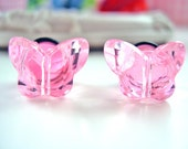 Pink butterfly plugs for gauged ears 10mm 00g stretched ear
