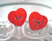 Red Button heart plugs for gauged ears 6mm 2g stretched ears