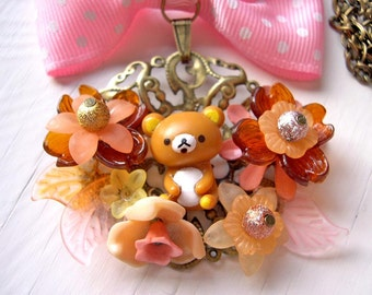 Kawaii Teddy and bow Necklace Gothic Lolita