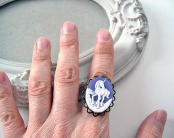 Unicorn ring in purple cameo ring fairy kei lolita
