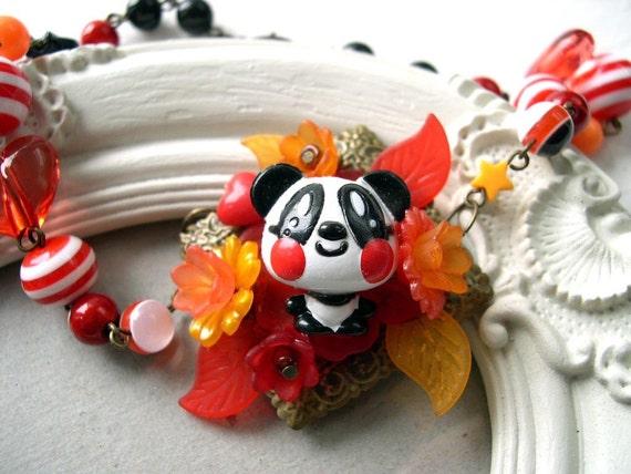 Cute Panda Necklace Kawaii choker Gothic Lolita