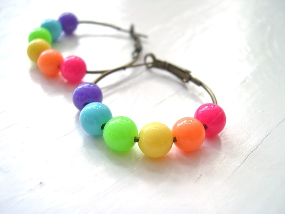 RainBow Bubblegum Hoop Earrings