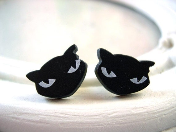 Black cat plugs for gauged ears 5mm 4g stretched ears
