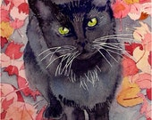 Cat Art Print Black Kitty High Hope