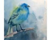 "Sale - Bird Art Watercolor for Men Women Kids Print Bright Blue Bird Turquoise Blue Kids Women Pale Blue 10""x10"" Holiday Gift under 25"