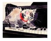 1. Cat Art / Watercolor print / Himalayan kitten painting / Piano Kitty art / grey black white / Nursery decor C