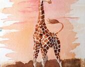 Giraffe ORIGINAL Watercolor Painting / Wild nature African zoo animal art / Color field orange sunset / illustration / Nursery / 11 x 7